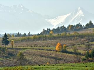 Jesień w Pieninach z Tatrami w tle