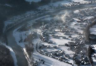 Zimowy poranek w pienińskich Sromowcach Niżnych
